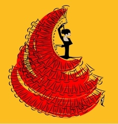red-yellow image of flamenco vector image