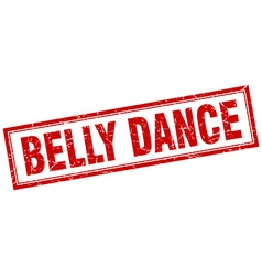 Belly dance red square grunge stamp on white vector