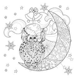 Cute owl on christmas half moon vector