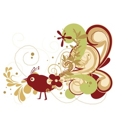 Abstract bird with floral vector