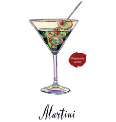 An olive martini cocktail with bubbles vector