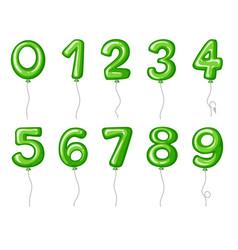 balloon numbers zero to nine in green color vector image vector image