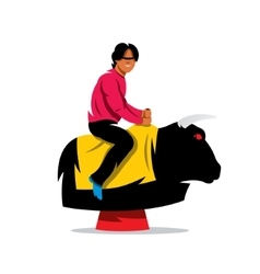Bull Ride Cartoon vector image