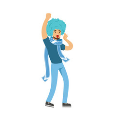 Cheering football fan character in blue wig vector