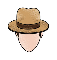 Color pencil cartoon faceless man with hat and bow vector