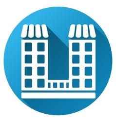 Company building gradient round icon vector