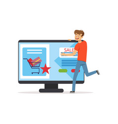Crazy man with giant computer online shopping vector
