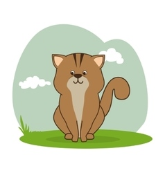 Cute cat isolated icon vector