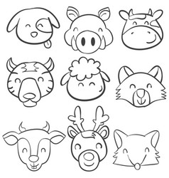 doodle of animal head design collection vector image vector image