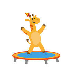 flat giraffe jumping on trampoline vector image
