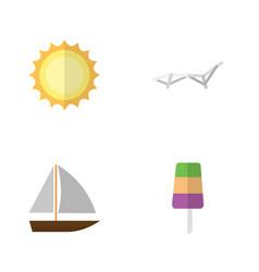 Flat season set of sunshine yacht deck chair and vector