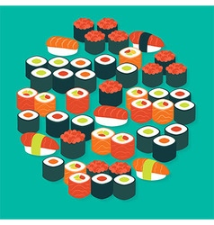 Food Sushi Sashimi and Rolls Flat Design Circle vector image