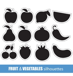 fruit and vegetables silhouettes clip-art vector image vector image