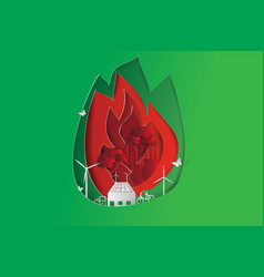 green city opposites with eco fire concept vector image vector image