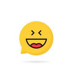 laugh emoji speech bubble logo on white background vector image