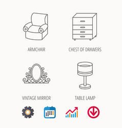 mirror table lamp and armchair icons vector image vector image