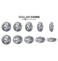 Money dollar 3d silver coins set vector