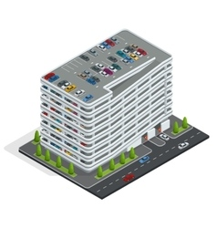 Multi-story car park isometric city car park vector