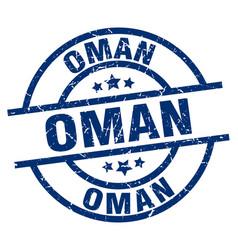 Oman blue round grunge stamp vector