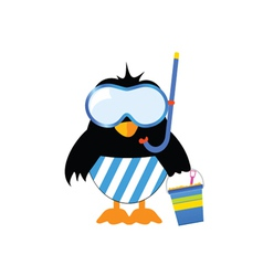 Penguin ready for the beach vector
