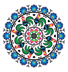 Polish traditional folk art pattern in circle w vector image vector image