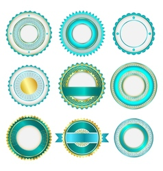 Set of badges labels and stickers in turquoise vector image vector image