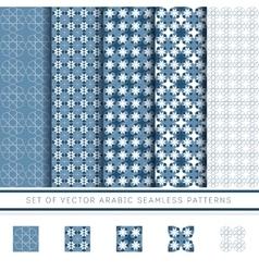 set of blue arabic pattern vector image vector image