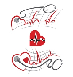 set of electrocardiogram vector image