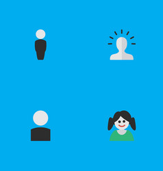 Set of simple avatar icons elements contour female vector
