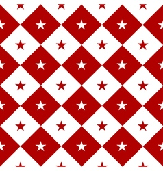 Star red white chess board diamond background vector