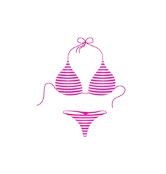 Striped bikini suit in pink and white design vector
