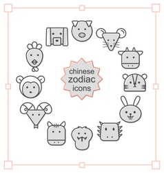 Thin line icons set chinese zodiac vector