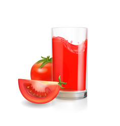 tomato juice in glass realistic vector image vector image
