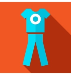Tshirt and pants sports uniform icon flat style vector image