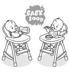 Two kids in baby highchair vector image vector image