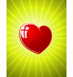 vector red glossy heart vector image vector image