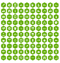 100 rafting icons hexagon green vector