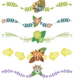 Set of decorative borders with leaves vector