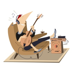 Rest with guitar vector
