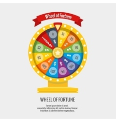 Fortune spinning wheel in flat style vector