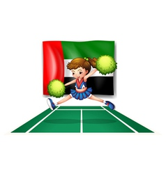 A cheerdancer in front of the UAE flag vector image