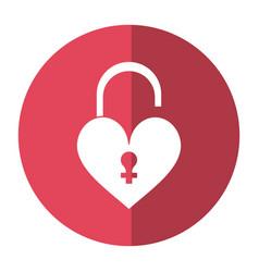 heart padlock female sign shadow vector image