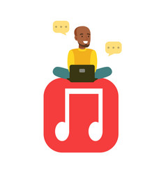 Young black man sitting on a big mobile musical vector