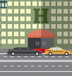 Flat design concept for city hotel and parked taxi vector