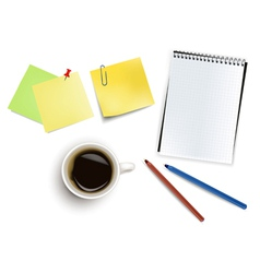 Office supplies and cup of coffee vector