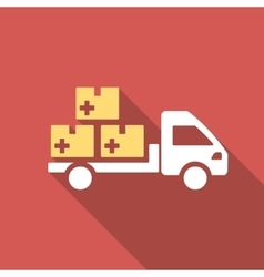 Medication delivery flat square icon with long vector