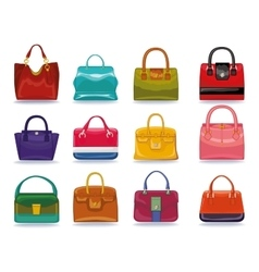 Colored female handbags setFashion vector image