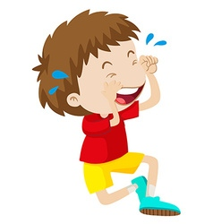 Boy in red shirt crying vector