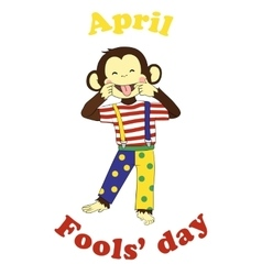 April 1 fools day cartoon funny card vector