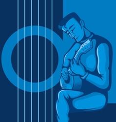 guitarist blue vector image